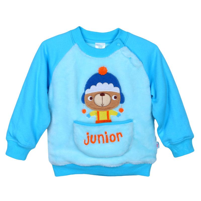 歌瑞家A类男宝宝蓝色小熊夹棉T恤