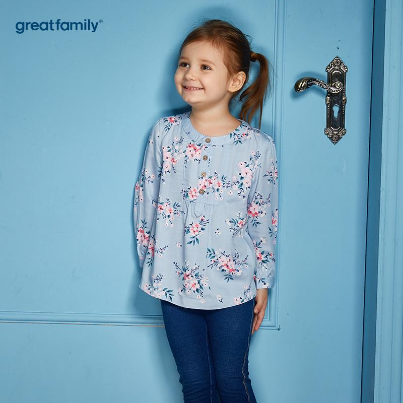 歌瑞家(Greatfamily)A类可爱精灵女童浅蓝色印花小立领长衬衫