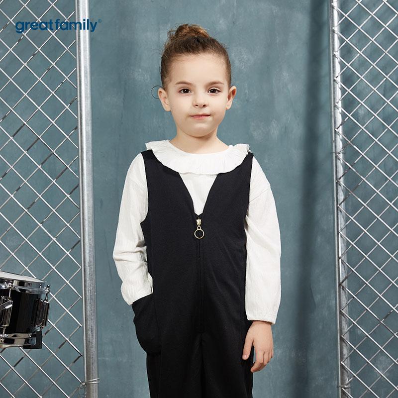 歌瑞家(Greatfamily)A类酷帅宝贝女童白色螺纹织花荷叶边圆领T恤