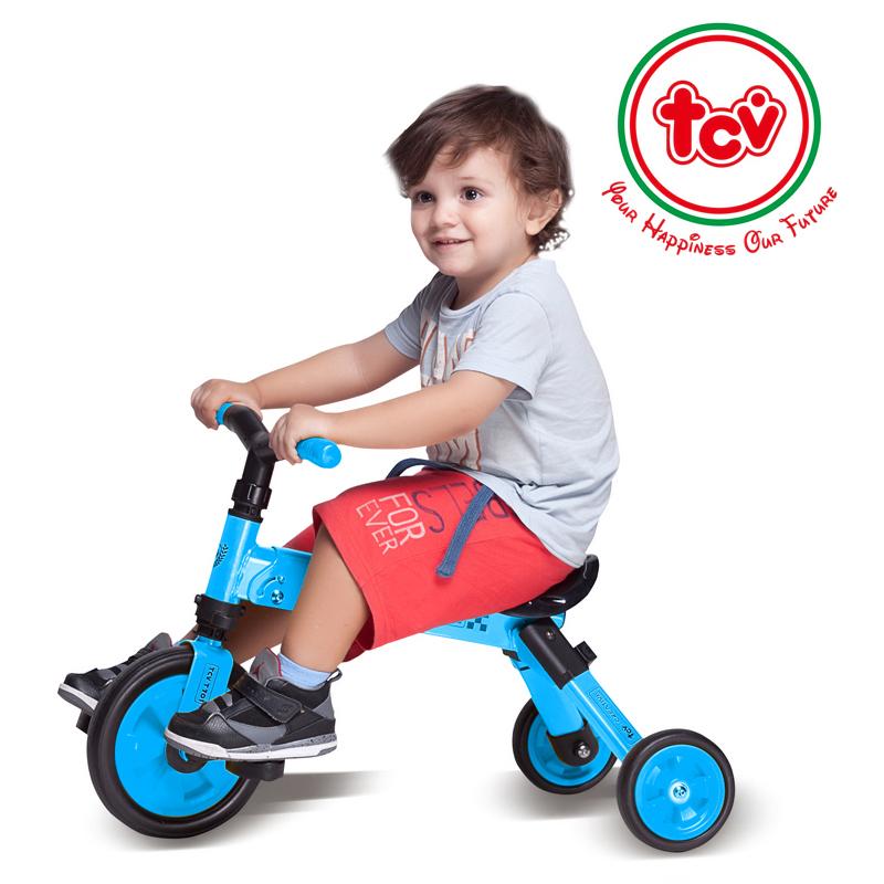 【乐海淘】台湾TCV二合一折叠式儿童滑步三轮车T701 浅蓝 海外直邮