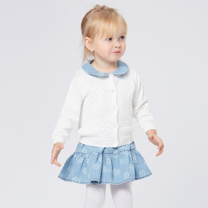 歌瑞家greatfamilyA类白色女婴提花线衫