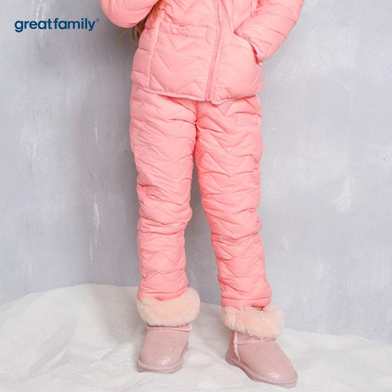歌瑞家(Greatfamily)A类女童粉色绗缝羽绒内穿裤子/内胆