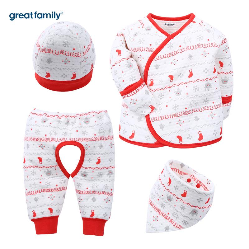 歌瑞家(Greatfamily)A类薄三保暖红和袍套装男女宝宝通用款