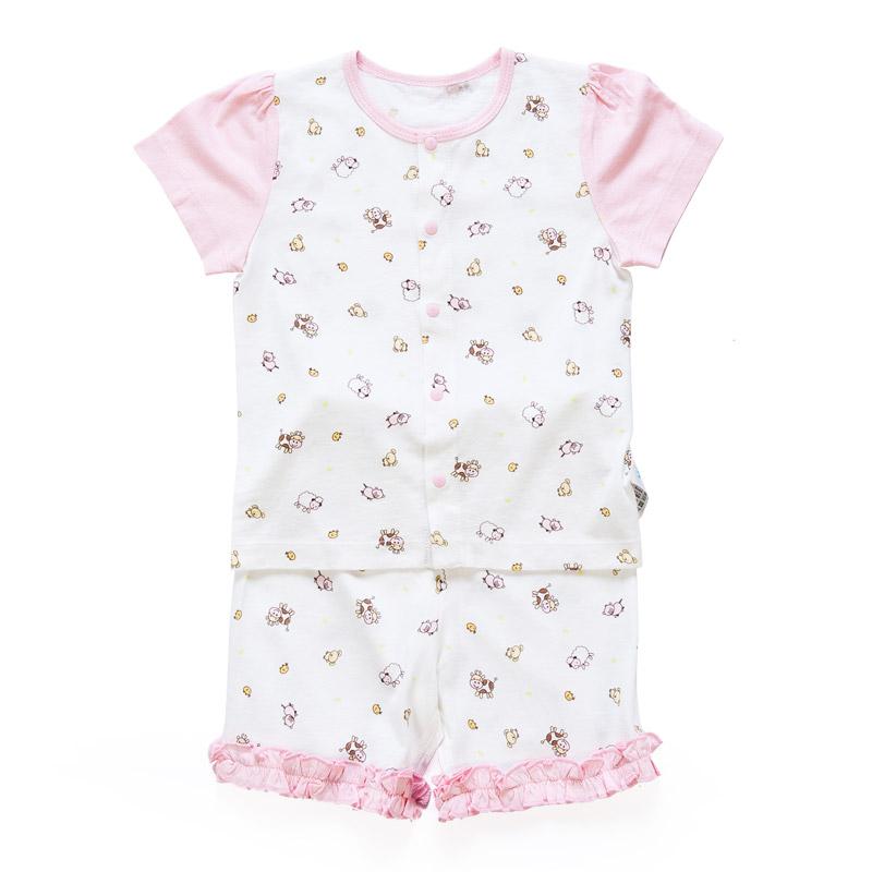 歌瑞贝儿(新)--竹纤维快乐农场短袖对襟套装(夏)GB142-564SU粉80cm