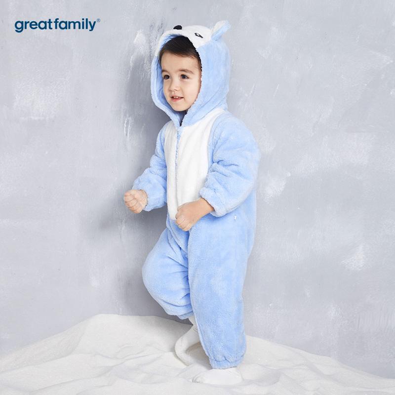 歌瑞家(Greatfamily)A类男宝宝蓝色剪毛绒造型连体服
