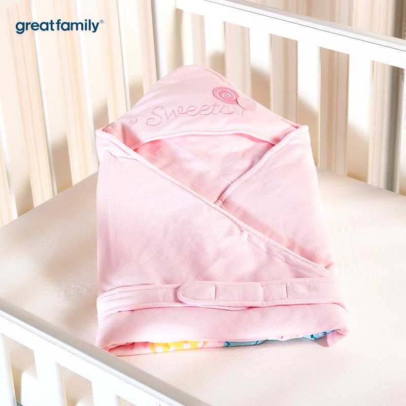 歌瑞贝儿针织色织条抱被云朵款90*90cm粉色