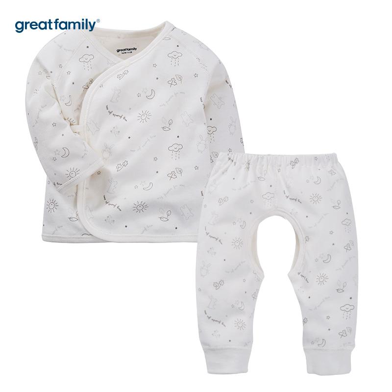 歌瑞家(Greatfamily)A类男女宝宝通用纯棉白色长袖和袍/和尚服/斜襟系带套装