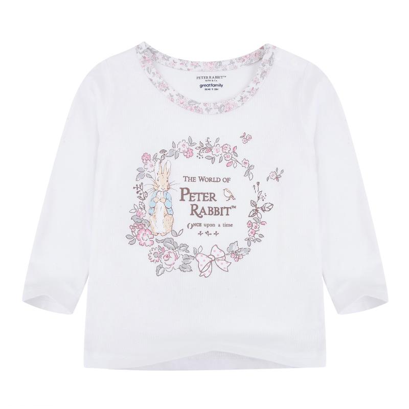 歌瑞家A类纯棉女宝白色长袖T恤两色可选