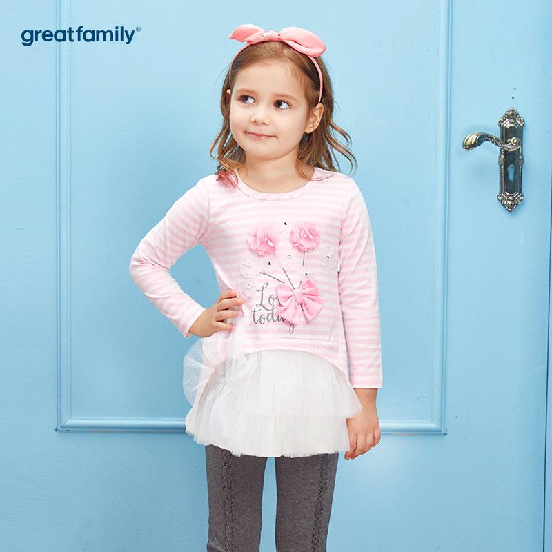 歌瑞家(Greatfamily)A类可爱精灵女童粉色白色条纹花边纱立体小花蝴蝶结装饰针织长T恤