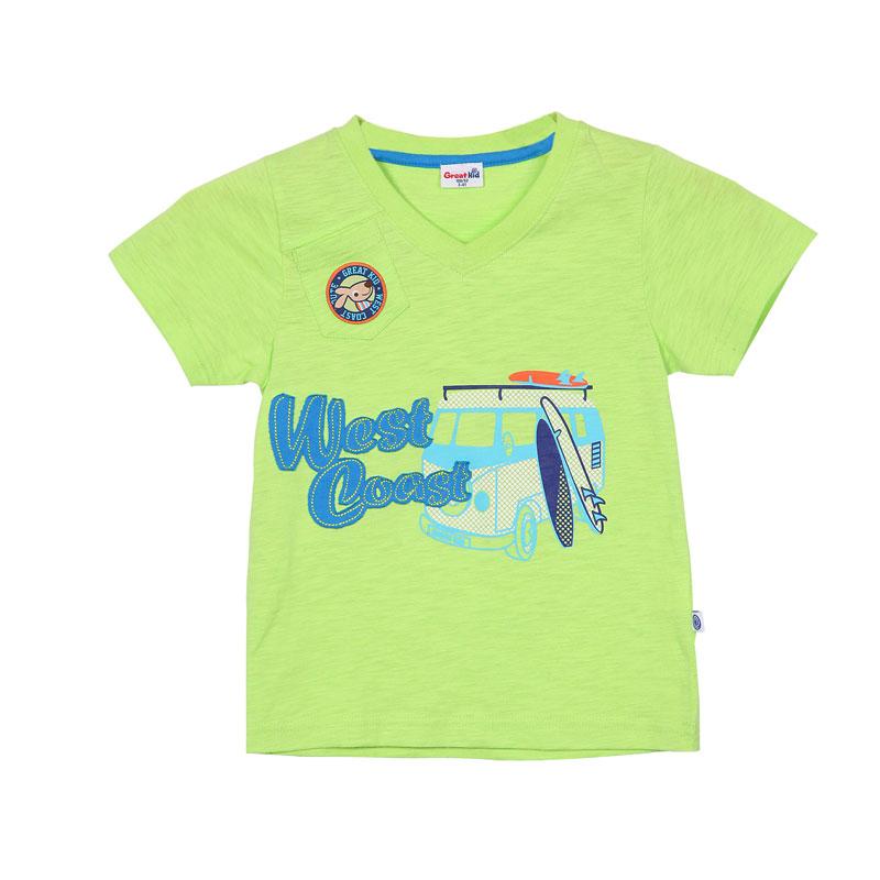 歌瑞凯儿A类男童黄色针织小V领短袖T恤