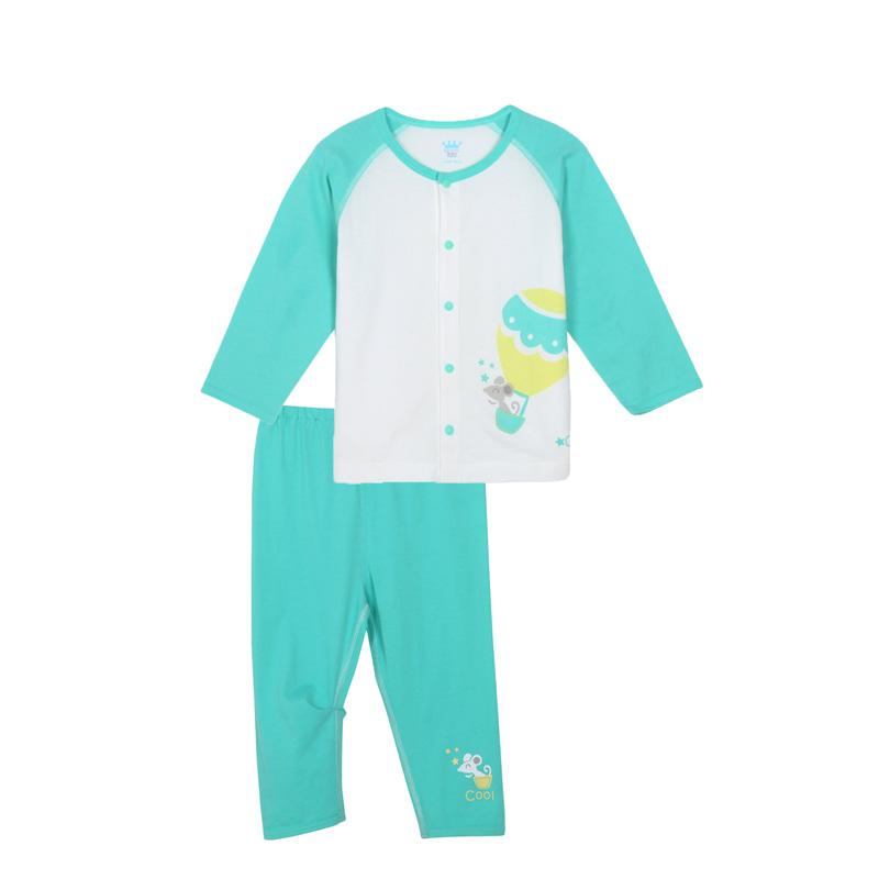 歌瑞贝儿A类男婴绿色纯棉对襟套装
