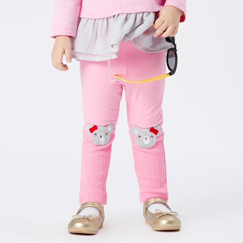 歌瑞家A类粉色女婴小熊打底裤