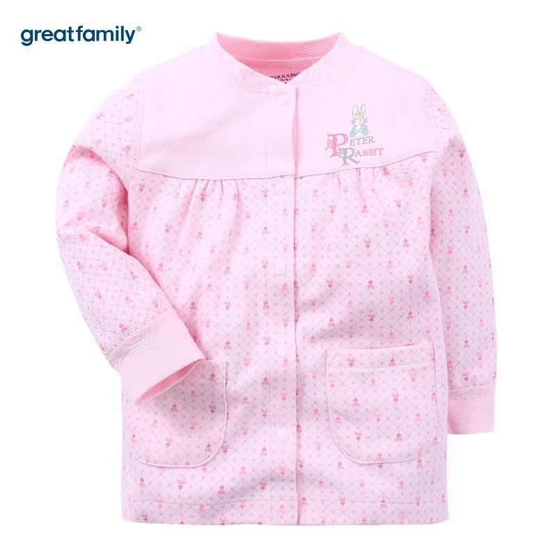 歌瑞家(Greatfamily)比得兔(PeterRabbit)A类女宝宝舒绒粉色对襟上衣