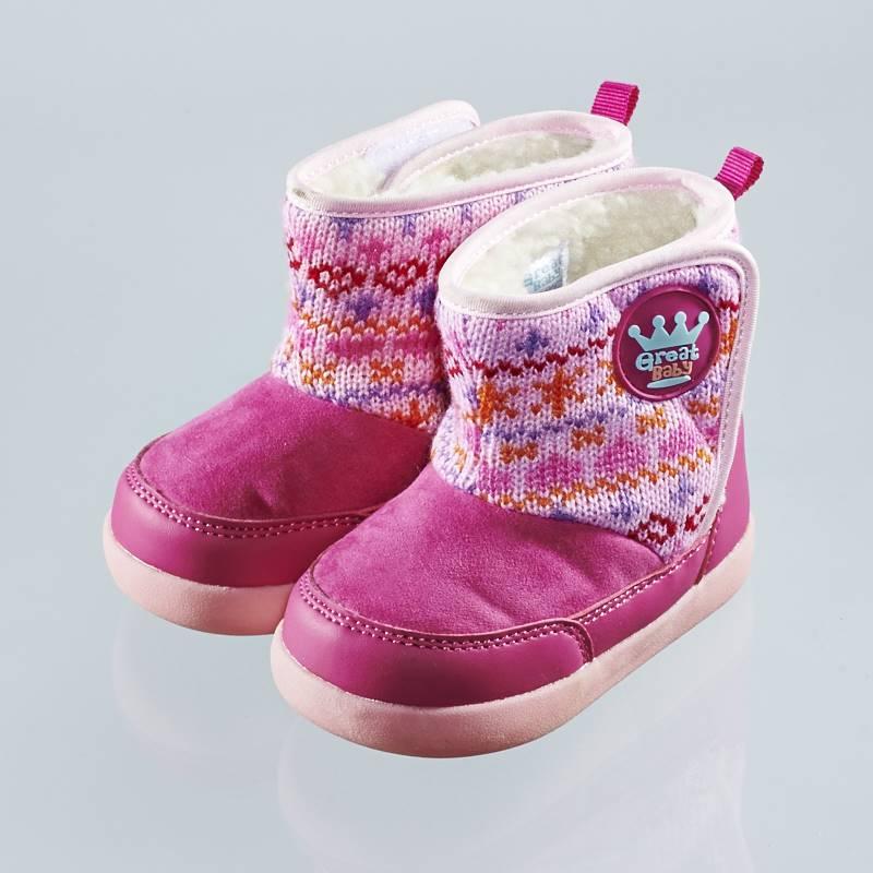 歌瑞贝儿(新)--复古保暖短靴(婴儿鞋)GB144-042SH梅红13.5CM