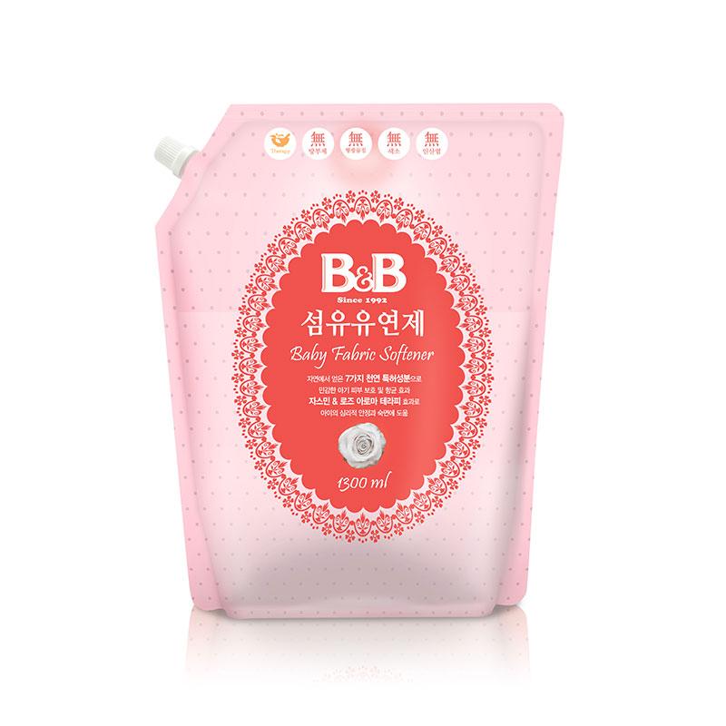 保宁B&B韩国进口宁纤维柔顺剂柔和香补充装1300ml