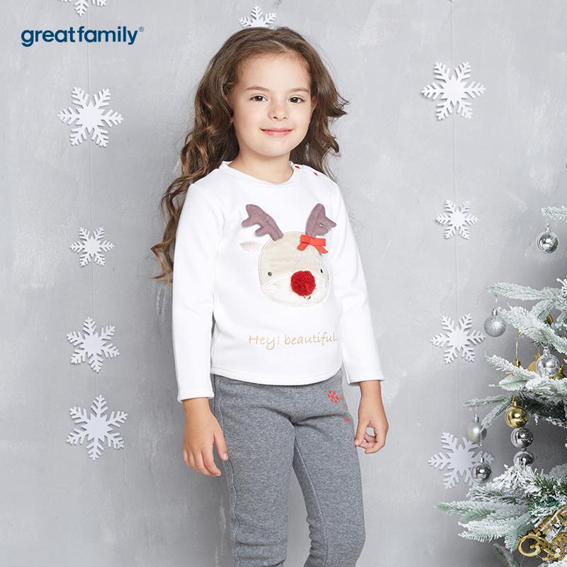 歌瑞家(Greatfamily)A类女童白色圣诞系列小麋鹿套头T恤