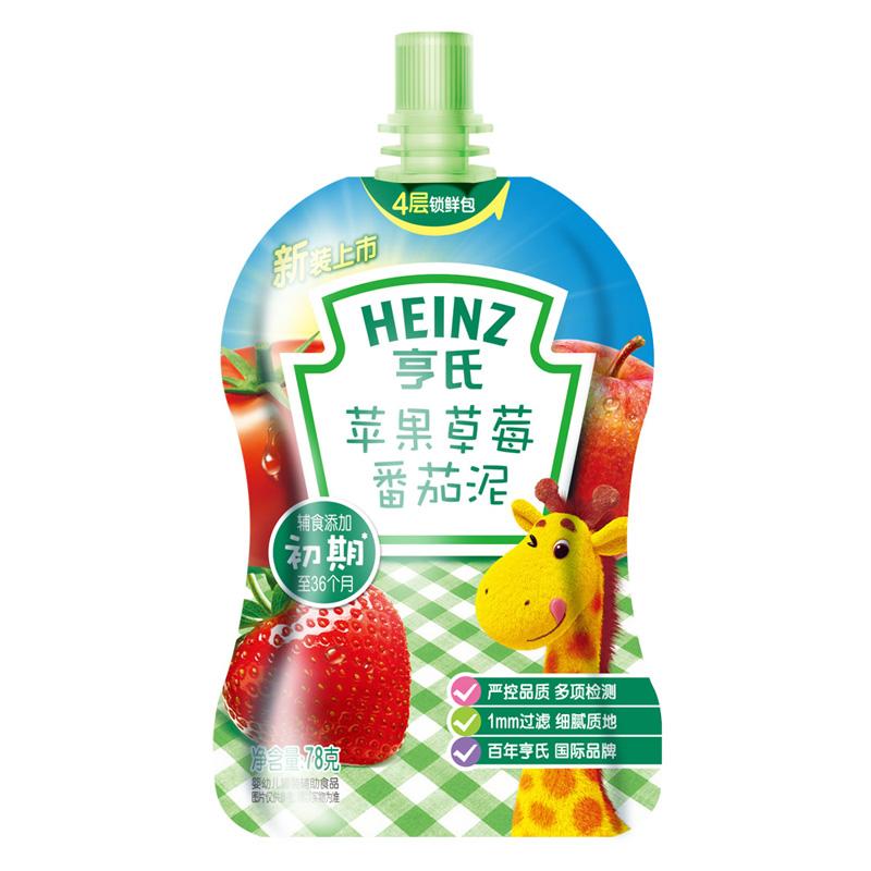 亨氏Heinz果蔬泥苹果草莓番茄78g6至36月全球选材改善肠道健康