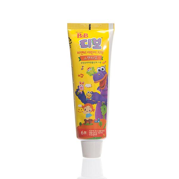 保宁B&B韩国进口宁幼儿牙膏90g橙子味三岁以上宝宝适用