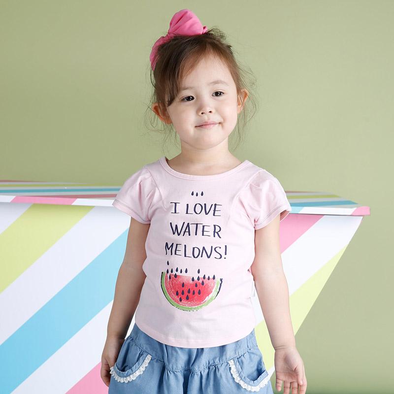 歌瑞家greatfamilyA类粉色女童针织T恤