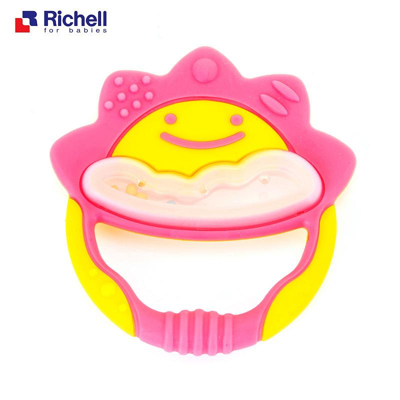 利其尔Richell 笑脸牙胶(粉色)附固定夹