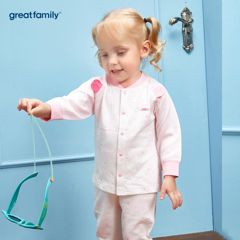 歌瑞家(Greatfamily)A类女宝宝纯棉粉色对襟长袖上衣