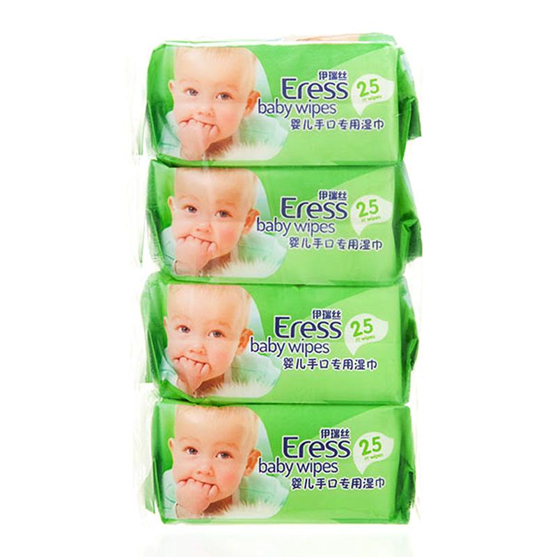 伊瑞丝Eress婴儿手口湿巾25片/包*4包植物配方不添加酒精香料柔暖厚实