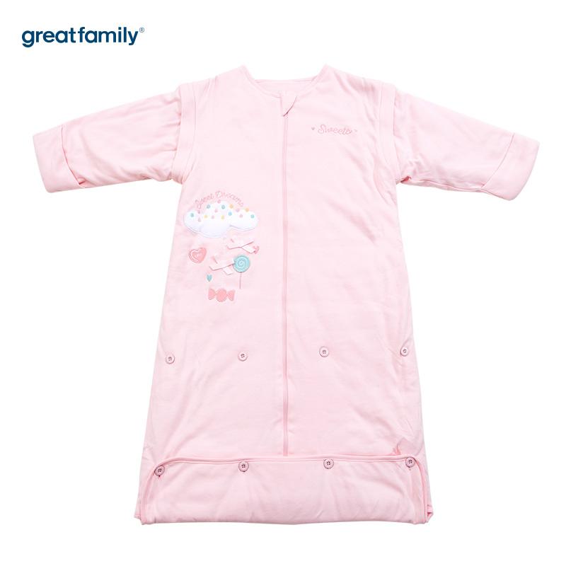 歌瑞贝儿针织色织条可调节睡袋云朵款45*80-90cm粉色
