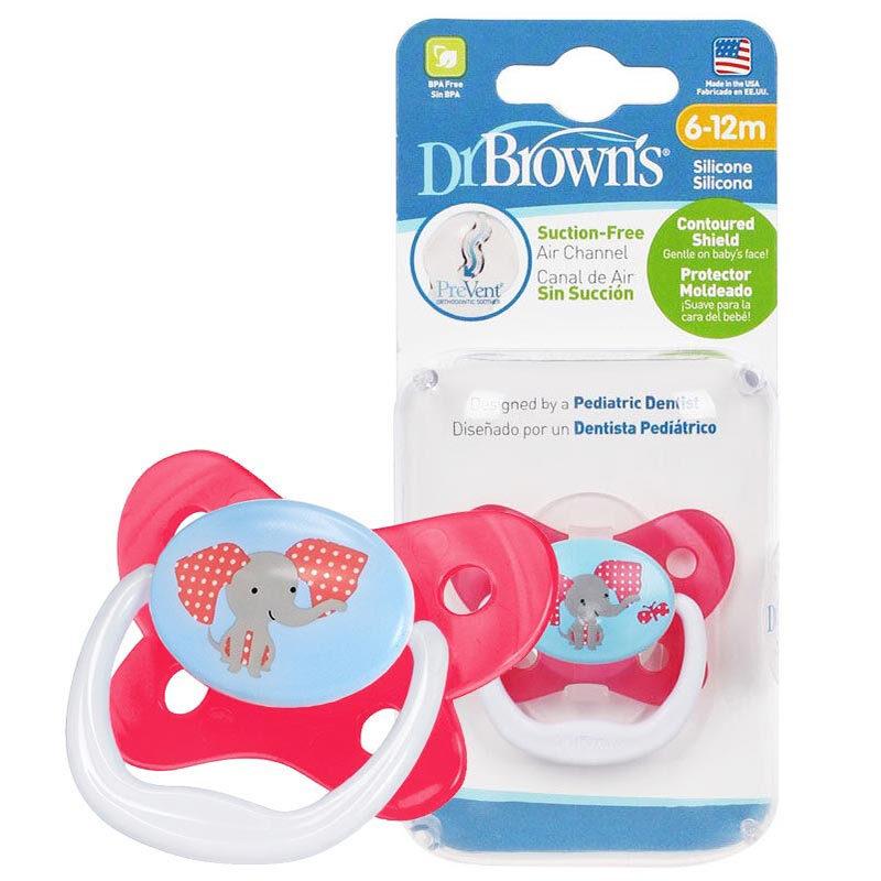 布朗博士DrBrown's蝴蝶形舒适安抚奶嘴6-12个月红色