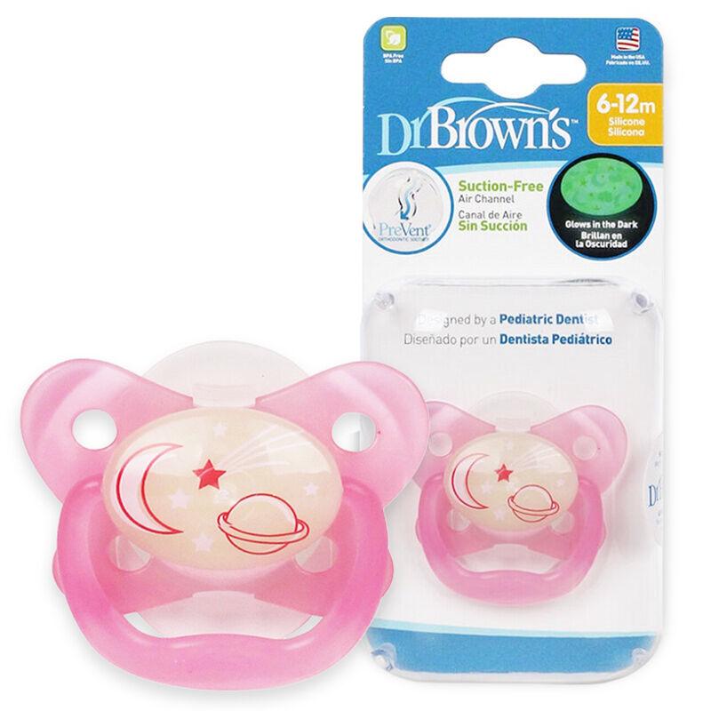 布朗博士DrBrown's夜光舒睡安抚奶嘴6-12个月粉色
