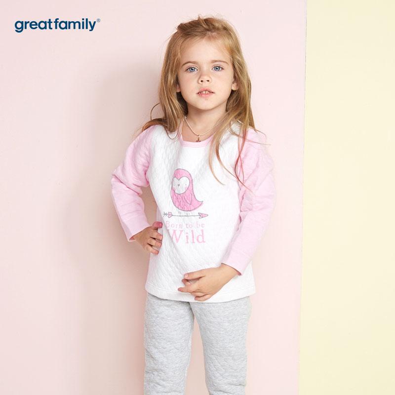 歌瑞家(Greatfamily)A类女童混色加厚三保暖印花圆领内衣/家居服