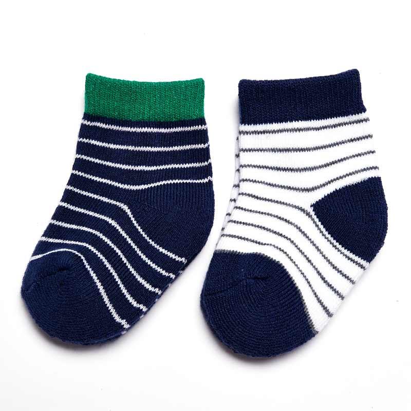 歌瑞贝儿舒适条纹平口毛巾袜(2双装)0-6个月GB144-007L