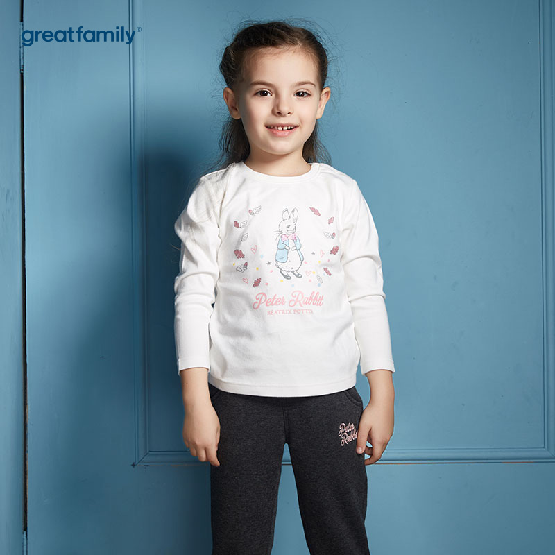 歌瑞家(Greatfamily)比得兔(Peterrabbit)A类白色绣花针织圆领T恤