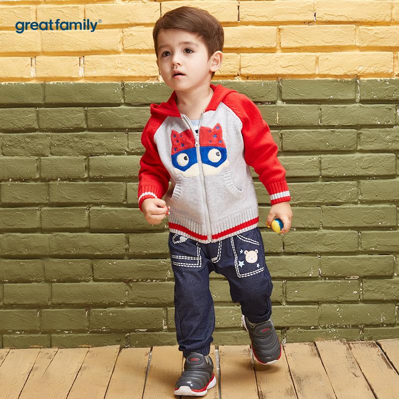 歌瑞家(Greatfamily)A类男宝宝灰色纯棉针织外套