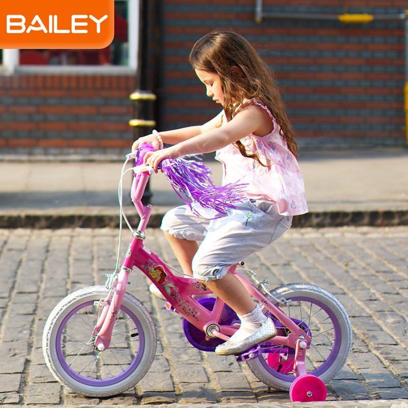 贝乐童车迪士尼系列公主发光盒自行车16寸 浅蓝色
