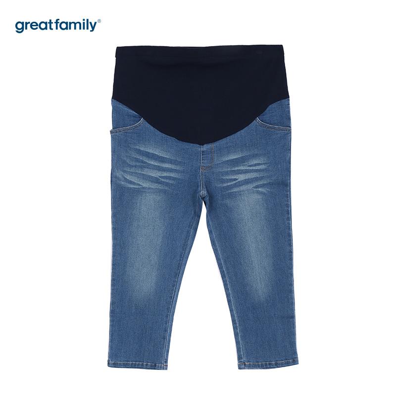 歌瑞家夏蓝色女七分牛仔裤