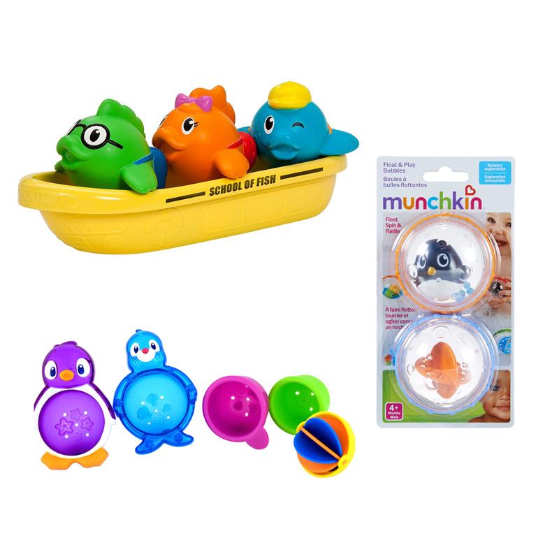 【乐海淘】美国满趣健Munchkin 漏水漂浮洗澡玩具+漂浮戏水球洗澡玩具+飞鱼小船洗澡玩具 海外直邮