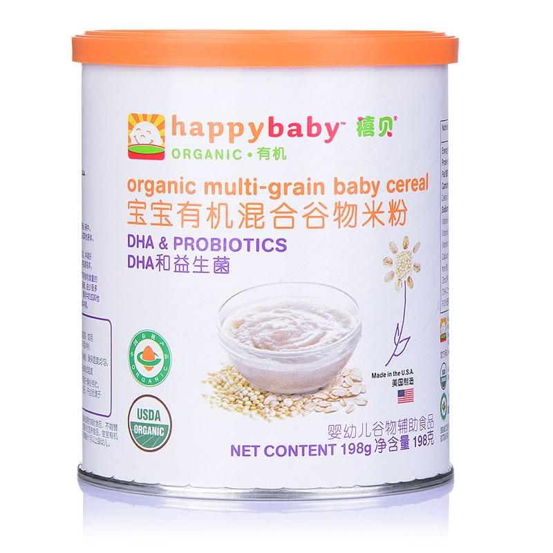 美国原装进口禧贝有机混合谷物米粉198g罐