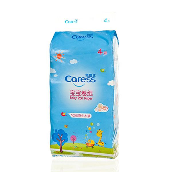 凯瑞丝Caress宝宝卷纸长条有芯4卷