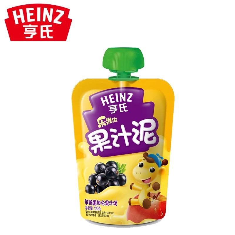 亨氏Heinz乐维滋果汁泥苹果黑加仑120g富含维生素C