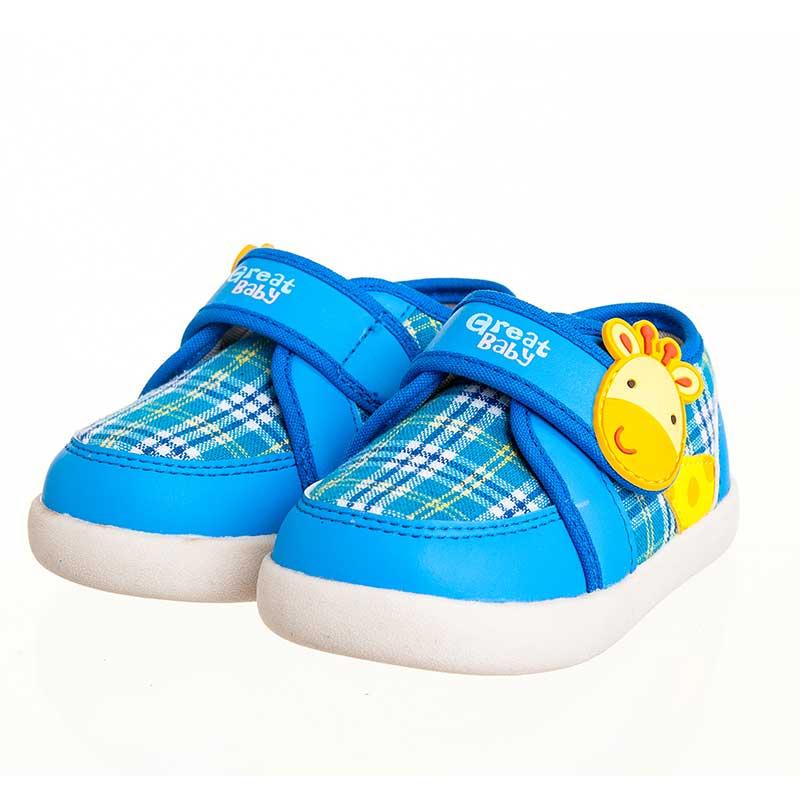 歌瑞贝儿(新)--小鹿学布鞋(男婴儿鞋)GB143-026SH蓝13.5CM