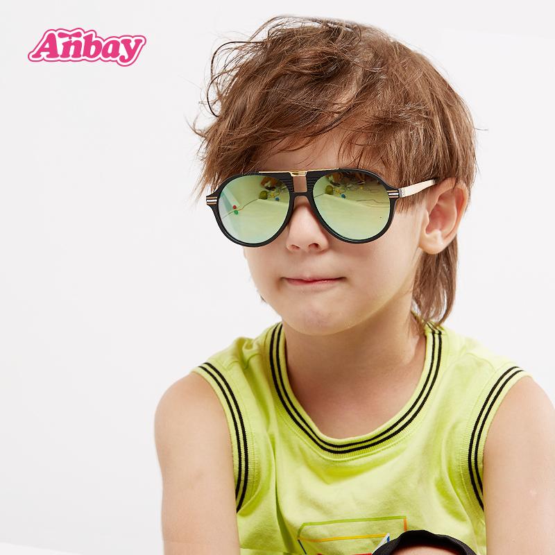 安比男童黑色儿童太阳镜
