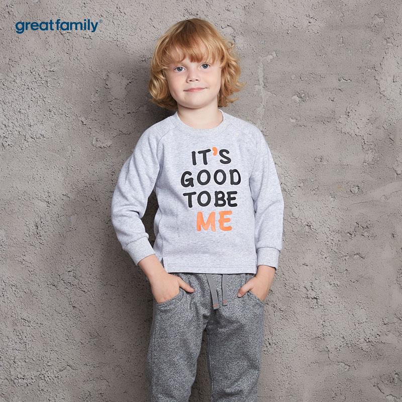 歌瑞家(Greatfamily)A类男童灰色字母印花绒面圆领套头卫衣
