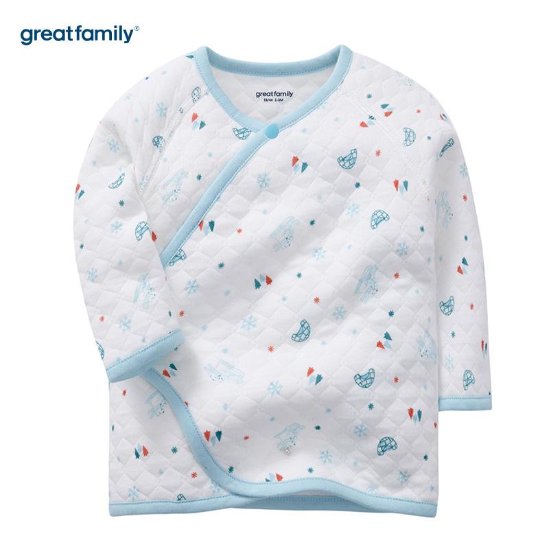歌瑞家(Greatfamily)A类男宝宝厚三保暖花色长袖和袍/和尚服/内衣