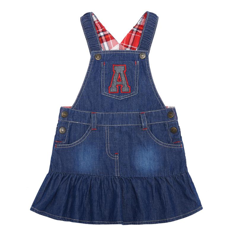歌瑞家A类纯棉蓝色女童梭织背带裙两色可选