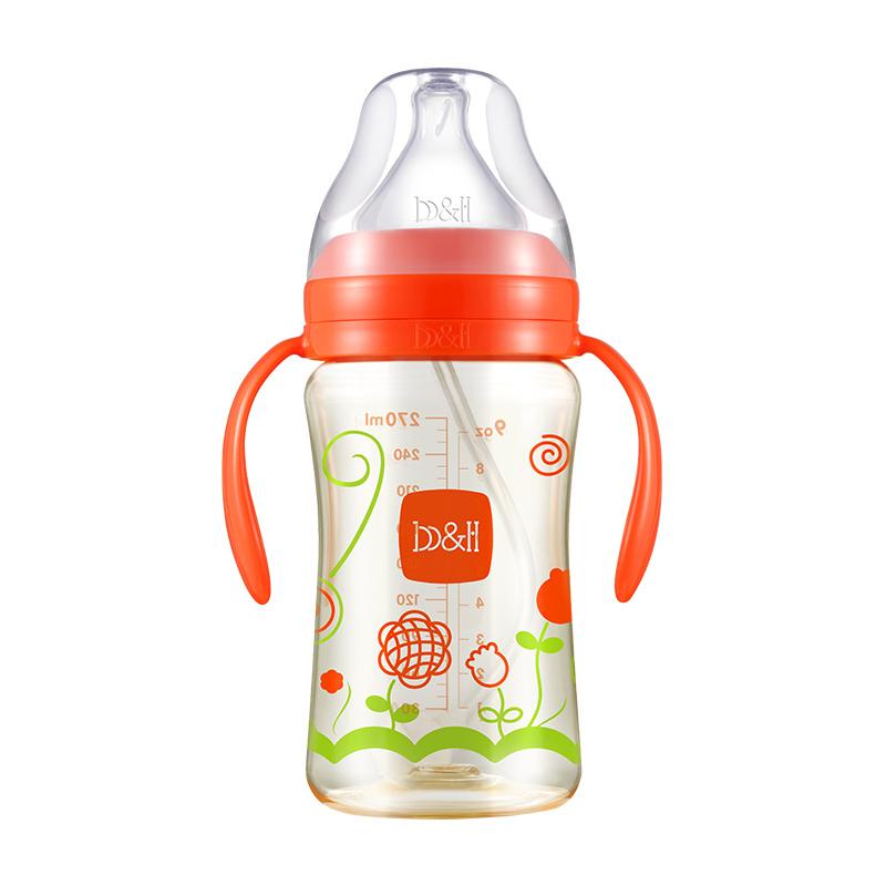 宝琪防摔新生儿宽口径耐高温PPSU奶瓶270ml 红色