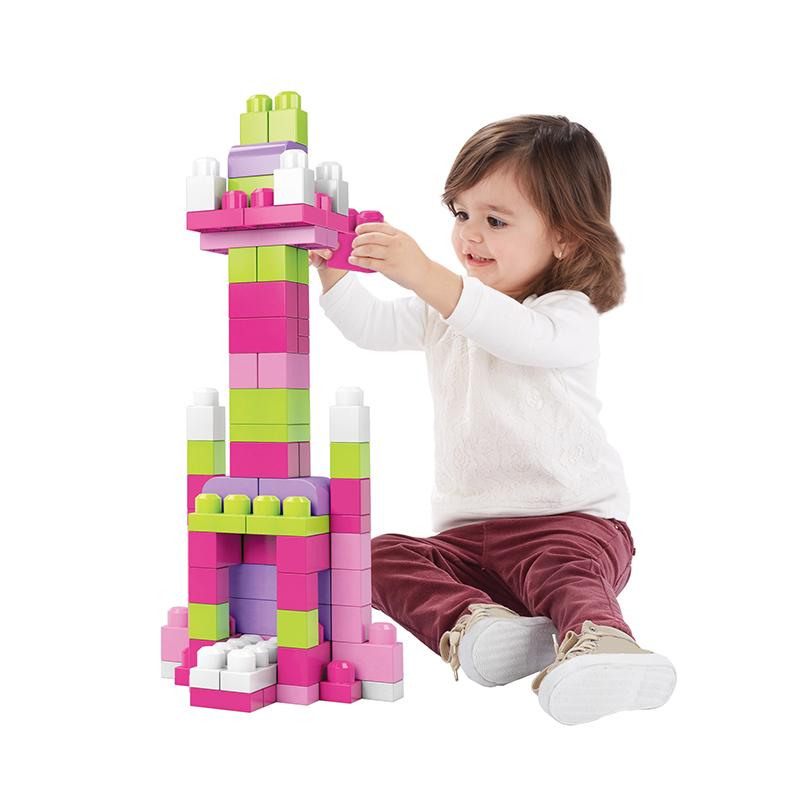 费雪美高(megabloks)大袋装积木80片系列粉色积木
