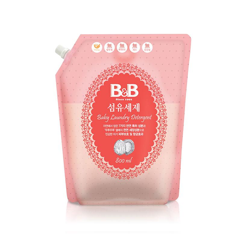 保宁B&B韩国进口香草纤维洗涤剂800ml盖子袋装纤维洗涤剂