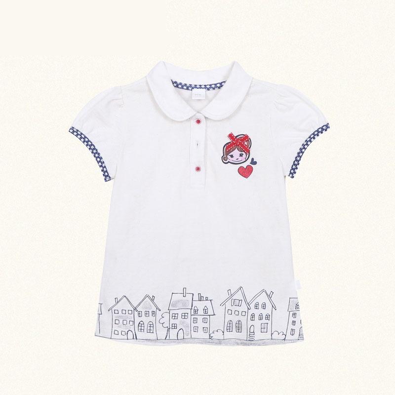 歌瑞凯儿A类女童白色提花POLO领短袖T恤