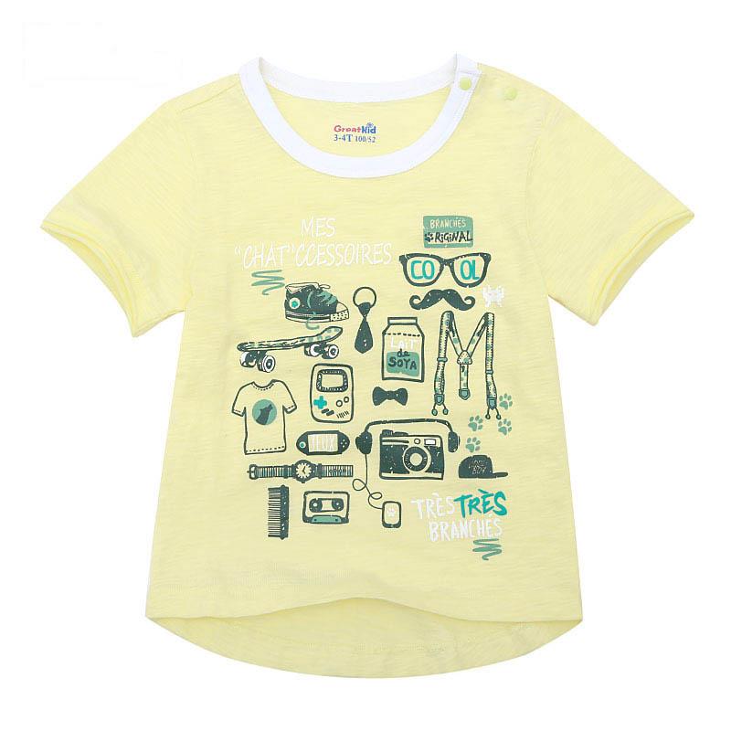 歌瑞家夏季A类纯棉男童黄色圆领针织T恤