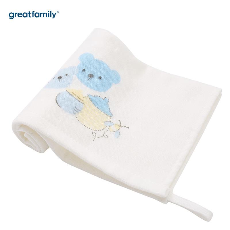 歌瑞家A类男宝宝蓝色小熊方巾两条装
